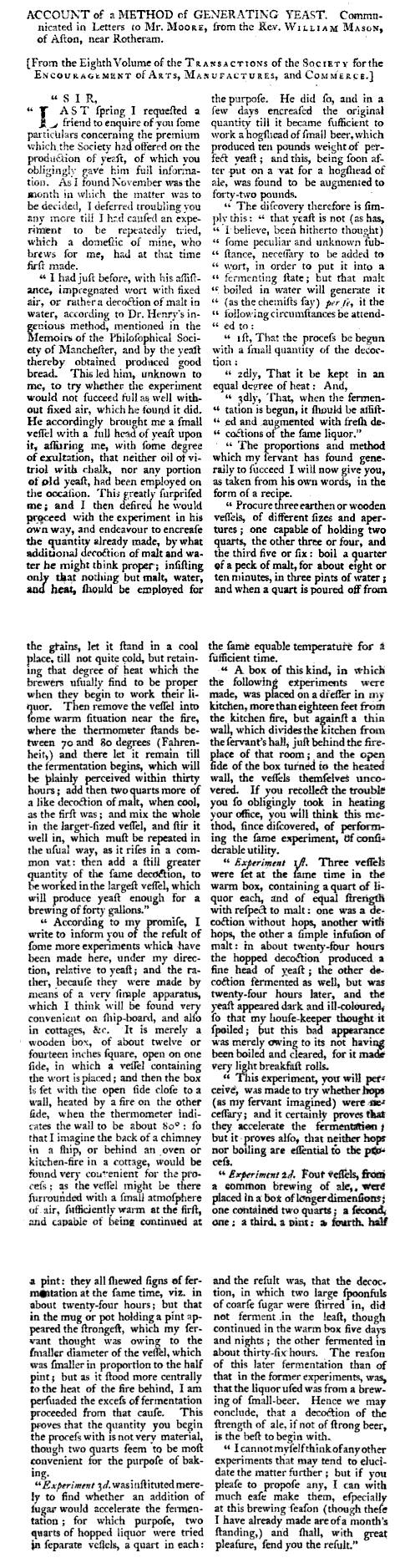 Account of Generating yeast about 1790