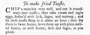 Fried Toasts in Eliza Smith 1758 cookbook The Compleat Housewife
