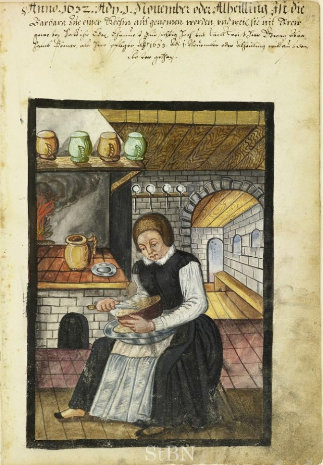 16th Century Cook working with raised hearth and built in oven